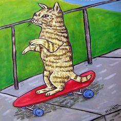 cat art tile coaster gift JSCHMETZ skateboard american abstract folk pop artist