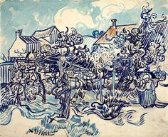 """""""Old Vineyard with Peasant Woman"""", (1890) by Vincent van Gogh - [Van Gogh Museum, 43 x 54 cm]"""