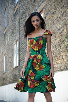 Tribal print dress, Knee length Dress, Green Dress, Batik dress, African print dress, Floral dress, Spring dress, Cotton Dress, Summer dress