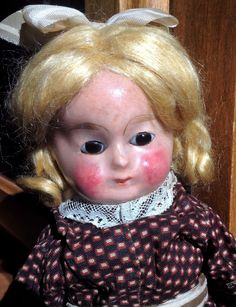 Antique WAX Over Compo OR Papier Mache Doll German Glass Eyes   eBay