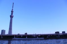 Tokyo, Sumidagawa River in the afternoon.  The opposite side of the river of the TOYO SKYTREE.