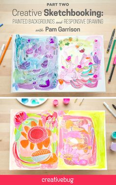 Part 2 of Pam Garisson's Creative Sketchbooking is now live. Learn how to create watercolor backgrounds in a variety of colors and brushstrokes. Want to know how you can participate in the #CBSketchbooking Contest? Head to the blog: http://blog.creativebug.com/cbsketchbooking-contest/