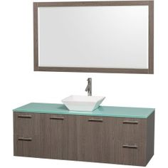 """where to purchase Amare 60"""" Wall-Mounted Single Bathroom Vanity Set with Vessel Sink by Wyndham Collection – Gray Oak Sale Save Special offer"""