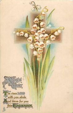A JOYFUL EASTER  lily-of-the -valley Vintage Postcard