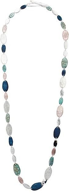 Robert Lee Morris Silver and Patina Long Station Necklace Necklace