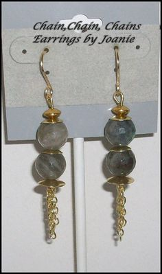 Labradorite Bead Earrings wth Chain Dangles by ChainChainChains