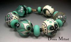 HANDMADE LAMPWORK Glass Beads SET Donna Millard sra lamp work white teal ivory black turquoise winter spring boho tribal. $90.00, via Etsy.