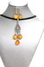 Natural Gemstone Cream Quartz Necklace Earrings Fengshui Chakra Protection USA