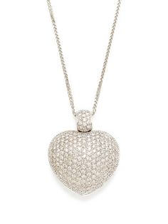 Estate Diamond Heart Locket Pendant Necklace
