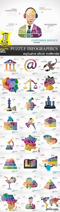 Puzzle infographics vector stock 25xeps general pinterest puzzle infographics vector stock 25xeps general pinterest vector stock gumiabroncs Images