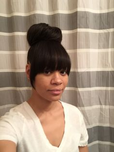 Faux Bang with bun Hair Extensions added for bangs and fuller bun. Follow my IG @loxurioushair or @whatevalowants Like and subscribe Find music on Soundcloud... Weave Ponytail Hairstyles, Bangs Ponytail, Black Hairstyles With Weave, Ponytail Styles, Hairstyles With Bangs, Bun Styles, Black Hair Bun, Black Bun, Short Hair Bun