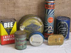 Antique  Collection of 7 Advertising Tins by ShaneLilyRain on Etsy, $16.00