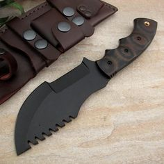 Van Dyke Custom Handmade Black Powder Coated 1095 Steel Tracker Knife Tom Brown