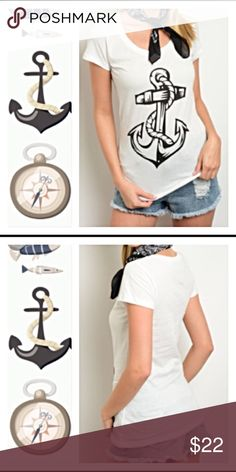 """Come Sail Away Anchor T-shirt Ivory & Black L XL Come sail away in this adorable always in style anchor tee in Ivory (off white) and black. 100% soft cotton. New from manufacturer without tags. ⛵️⛴ Junior (girl cut) tapered fit (go size up if you like a little looser fit)  Large Chest laying flat 16.5"""" Length 27""""  XL Chest laying flat 17.5""""  Length 27.5"""" Tops Tees - Short Sleeve"""