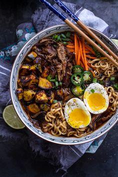 Crockpot Crispy Caramelized Pork Ramen Noodle Soup w/Curry Roasted Acorn Squash by halfbakedharvest #Soup #Ramen #Pork #Acorn_Squash #Crockpot