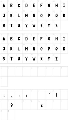 NUMBER two font character map
