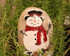 Hand Painted Snowman Holiday Stone