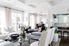 """""""The living room space is really just for hanging out,"""" says Dankner. """"It is open to the kitchen, so it is important that it was cozy but pr..."""