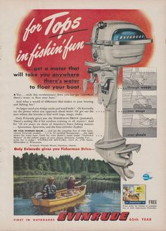 """1949 EVINRUDE """"ZEPHYR"""" OUTBOARD MOTOR AD w/ """"FISHERMAN DRIVE"""""""