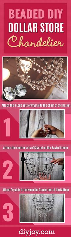 Dollar Tree Crafts - Cheap Beaded Chandelier Dollar Store Crafts and Easy Home Decor Projects - Easy DIY Lighting Idea on A Budget Easy Diy Room Decor, Easy Home Decor, Luminaria Diy, Diy Lampe, Diy Home Decor For Apartments, Beaded Chandelier, Chandelier Ideas, Chandeliers, Chandelier Wedding