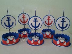Sailor Birthday, Sailor Party, Sailor Theme, Baby First Birthday, Baby Shower Games, Baby Boy Shower, Nautical Centerpiece, Boat Theme, Nautical Party