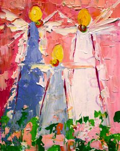 """""""Angels in a Line"""" by Winston Wiant. 10x8 inches. Acrylic on gallery wrapped canvas. SOLD"""