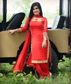 Kaur b Red suit Punjabi Girls, Punjabi Dress, Designer Punjabi Suits, Indian Designer Wear, Punjabi Fashion, Indian Fashion, Womens Fashion, Indian Suits, Indian Dresses