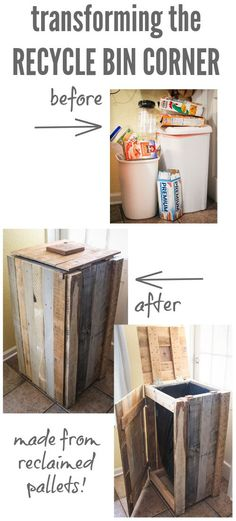 RECYCLED PALLETS TURNED INTO A RUSTIC RECYCLE BIN  http://theownerbuildernetwork.co/ua9d  Tired of your overflowing recycle bins?  Mark and Lauren of 'The Thinking Closet' have the perfect solution to your recycle bin problem. Their idea is very clever!  Could you use one of these in your home?