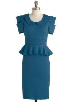 Work with Me Dress in Pool Blue - 1940s Peplum Dress  $49.99  Store: ModCloth.com