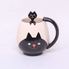Hand-painted Black Cat Cup (Spoon Included)