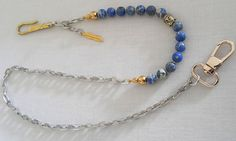 Wallet Chain Mens Gemstone Beaded Chain 925 Gold Plated Handmade Hook Blue Imperial Jasper, Mens Wallet Chain, Mens Boyfriend Husband Gift by Braceletshomme
