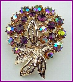 Vintage Signed ART Brooch or Pin w Purple & AB Rhinestones Gold Metal Floral Bouquet
