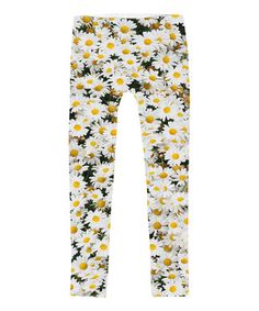Another great find on #zulily! White & Yellow Daisy Sublimated Leggings - Toddler & Girls #zulilyfinds