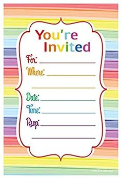 Rainbow striped fill out invitations. Send these colorful and fun invitations for your next birthday party or other special occasion. Printed on quality matte card stock to allow for easier writing wi Graduation Party Games, Birthday Party Games, Birthday Fun, Birthday Cards, Birthday Ideas, Birthday Stuff, Mermaid Birthday, Diy Party Games, Dinner Party Games
