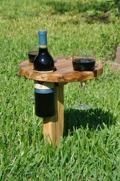Awesome!! Little wine table. Holds glasses and bottle.