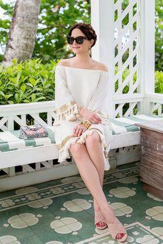 Off Shoulder Ivory Tassel Dress