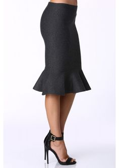 Flare Knit Skirt in Charcoal