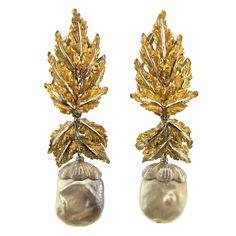 1960s Buccellati Pearl Diamond Gold Leaf Earrings | From a unique collection of vintage drop earrings at https://www.1stdibs.com/jewelry/earrings/drop-earrings/
