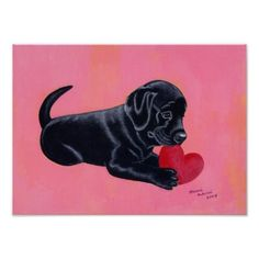 Black Labrador Puppy with Heart Art Print