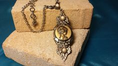 One of a kind cameo pendant- w/ pearls- silver victorian art deco vintage style #giadele on Etsy