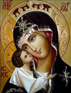"""""""When you are about to pray to our Lady the Holy Virgin, be firmly assured, before praying, that you will not depart from her without having received mercy. Religious Pictures, Religious Icons, Religious Art, Divine Mother, Blessed Mother Mary, Immaculée Conception, Greek Icons, La Madone, Queen Of Heaven"""