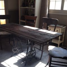 Table I made. old sewing machine legs and a barn door top I love it!