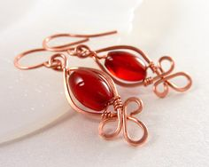Copper Earrings, Warm Red Agate, Celtic Knots, Fleur-de-Lis, Clover Patterns, Hammered Copper Wire, Celtic Earring, Orange-Red, Wire Wrapped