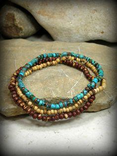 Turquoise Bracelet, Mens Bracelet, Rustic Bracelet Set, Native American Inspired Jewelry, by StoneWearDesigns