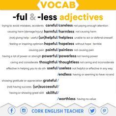 """hellolearnenglishwithantriparto: """" -FULL & -LESS adjectives #learnenglish """""""