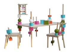 muebles educativos infantiles These furniture are made in wood and equipped with parts of various shapes and colors that can fit inside of the bars and these furniture legs helping children to develop their logical and motor skills.
