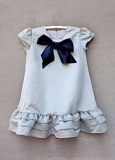 Silver Lining dress with a pretty navy blue silk bow...how perfect!