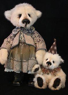 Girl Victorian Bear and friend by  Lori Simon