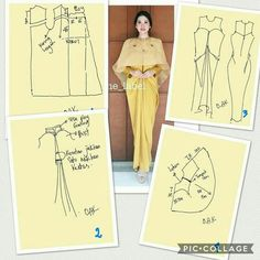 Discover thousands of images about Cape long dress Long Dress Patterns, Evening Dress Patterns, Dress Sewing Patterns, Clothing Patterns, Kaftan Pattern, Gown Pattern, Aya Couture, Batik Kebaya, Kebaya Muslim