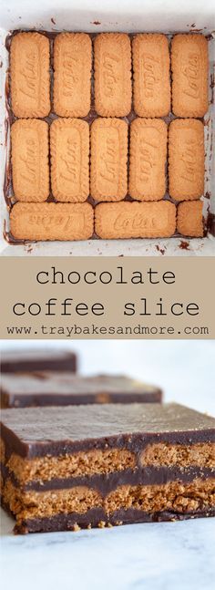A simple enriched chocolate and coffee buttercream, together with crisp, Biscoff cookies create this Chocolate Coffee Slice no-bake traybake Tray Bake Recipes, Lemon Dessert Recipes, Sweet Recipes, Baking Recipes, Cookie Recipes, Biscoff Recipes, Vegan Recipes, Irish Recipes, Chocolate Easter Cake